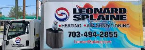 Installation truck from Leonard Splaine heating and air-conditioning used to install HVAC equipment in Northern Virginia