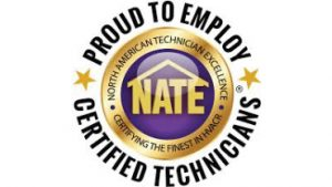 NATE certified Technicians for HVAC installation and Maintenance.