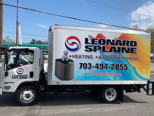 Leonard splaine installation truck for HVAC, airconditioning, and heating installations in northern virginia