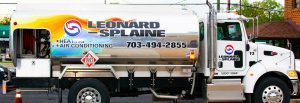 Oil Truck from Leonard Splaine company used to deliver heating oil for customers in northern Virginia
