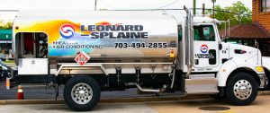 Leonard Splaine Oil Truck used for home heating oil delivery in Northern Virginia
